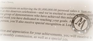 Million Dollar Milestone pin  and letter #1