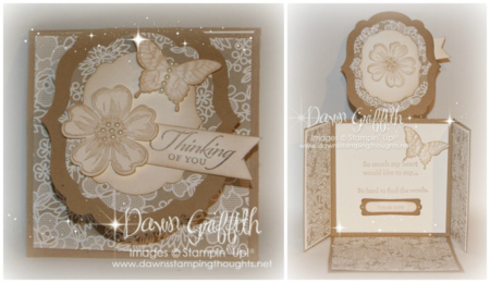 Label Flap Triple fold card Thinking of you card for Pam