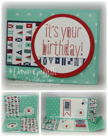 It's YOUR Birthday double Gate fold peek a boo card collage