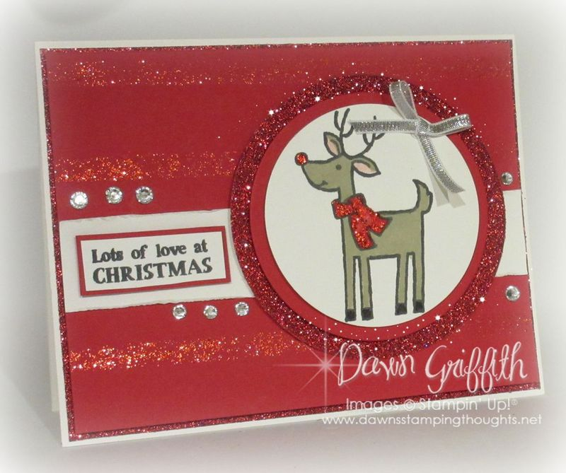 Christmas Card  using Cherry Cobbler DD and mask Dawn Griffith