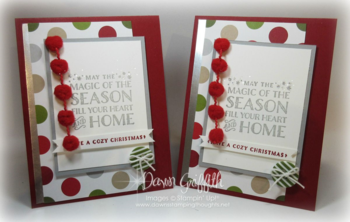 Real Red Pompom Trim Christmas cards by Dawn Griffith #1