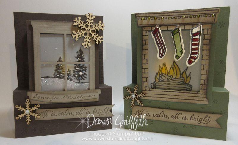 Happy Scenes  Festive Fireplace step panel cards