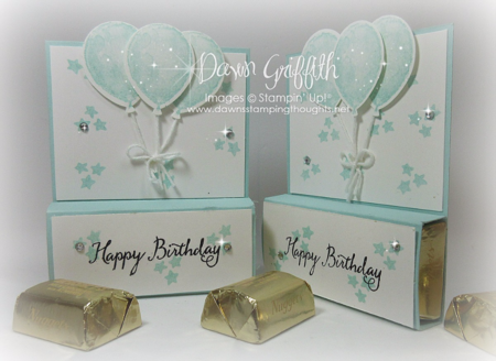 #1 Hershey Chocolate nugget holders front and side view by Dawn Griffith Stampin'Up! demonstrator  check out  my blog for the vide