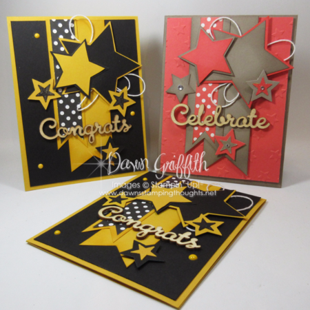 Star cards  with Stampin;'Up! Demonstrator Dawn Griffith Star Framelits  and Be The Star stamp set  from Stampin Up!  check out my blog for today's video