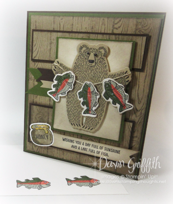 #1 Bear Hugs  card with Fish Dawn Griffith Stampin'Up! demonstrator . check out my blog today on how I colored the fish to look like Salmon with Dawn's quick tip video .