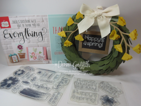 Happy Spring Wreath and Extra stamp set in Aprils Paper Pumpkin