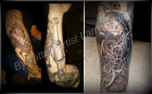 My hubby's Tattoo Sleeve done by Larry Farley