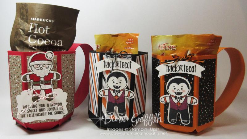 Halloween Trick or treat Mug with Christmas mug Dawn Griffith Stampin up