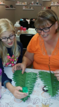 #1 Anna and Peggy making  the tree kit
