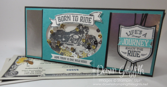 Richards One Wild Ride birthday card  gift certificate holder  Dawn Griffith