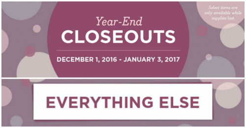 Closeouts and Everything else until January 3 2017 while supplies list click here