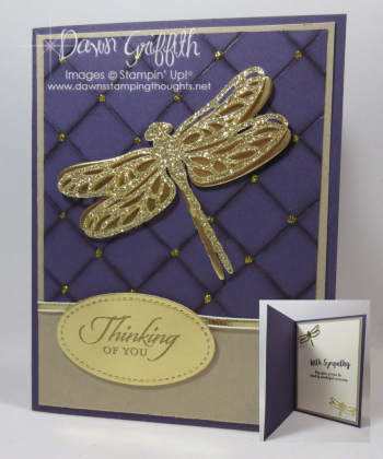 Thinking of You Dragonfly Sympathy Faux Quilt card by Dawn Griffith